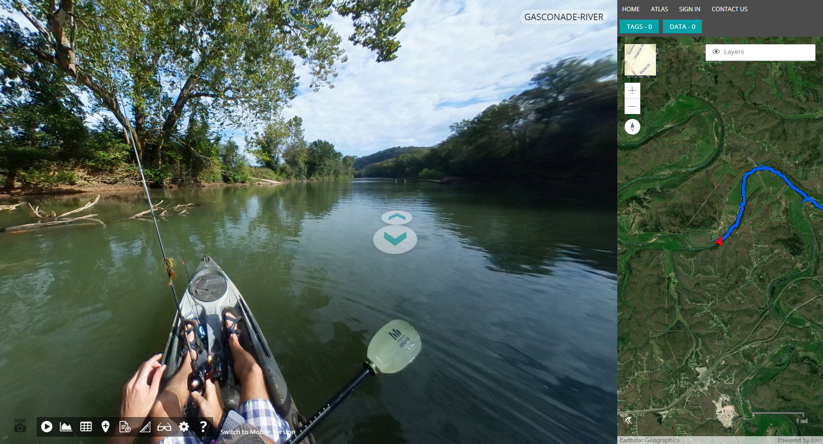 Kayaker crowdsourcing imagery for mapping project with EarthViews.